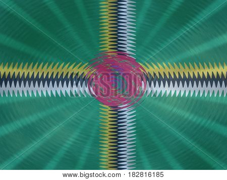 Dominica flag background with ripples and rays illustration