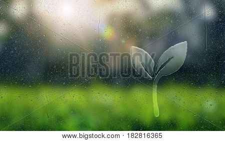 Water drop forming a plant - 3D Rendering