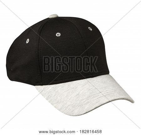 Hat Isolated On White Background. Hat With  Gray Visor.black Hat