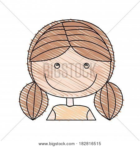 color pencil drawing of caricature half body girl with pigtail hair vector illustration
