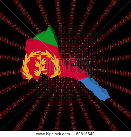 Eritrea map flag on red hex code burst 3d illustration