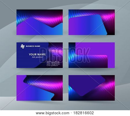 Business Card Background Blue Magenta Neon Effect01