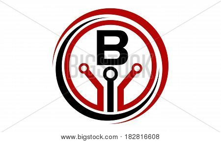 This vector describe about Digital World and Electrical Connections Initial B