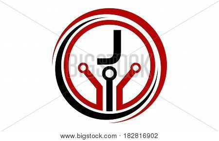 This vector describe about Digital World and Electrical Connections Initial J