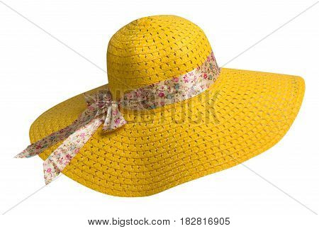 Woman  Hat Isolated On White Background .women's Beach Hat . Colorful Hat.yellow Hat