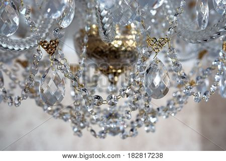 Details of a crystal chandelier close up