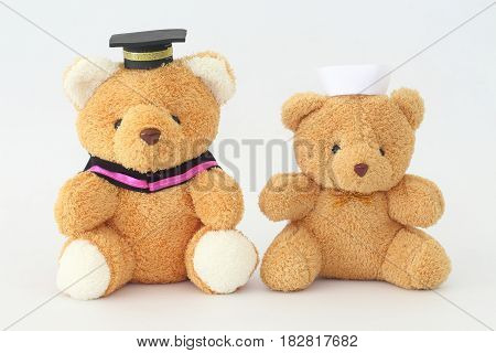 Two brown bear dolls wearing a graduation cap and a nurse hat on a white background.