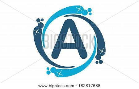 This vector describe about Water Clean Service Abbreviation Letter A