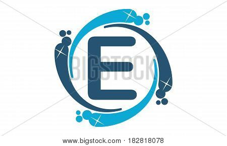 This vector describe about Water Clean Service Abbreviation Letter E
