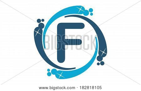 This vector describe about Water Clean Service Abbreviation Letter F