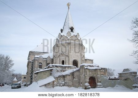 SAINT PETERSBURG, RUSSIA - FEBRUARY 08, 2015: Snowy ruins of the Fyodorovsky town February day. Tsarskoye Selo