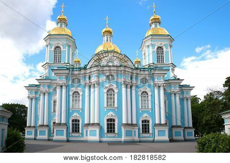St. Nicholas naval Cathedral closeup, cloud day in June. Saint Petersburg, Russia