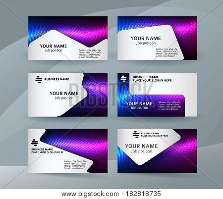 Business Card Background Blue Magenta Neon Effect07