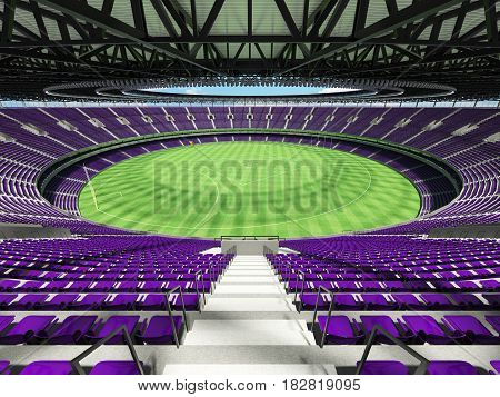 3D Render Of A Round Australian Rules Football Stadium With  Purple Seats And Vip Boxes