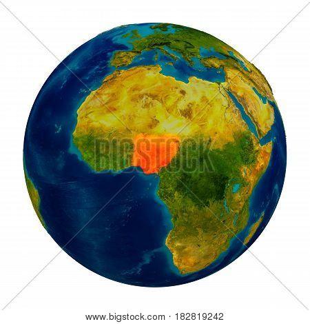 Nigeria Highlighted On Globe