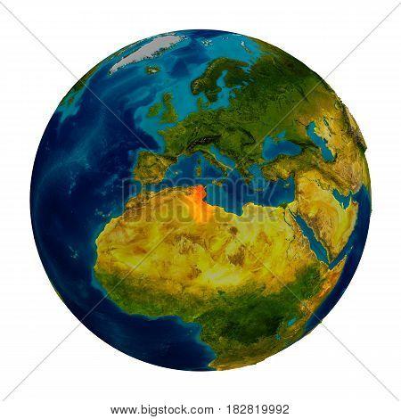 Tunisia Highlighted On Globe
