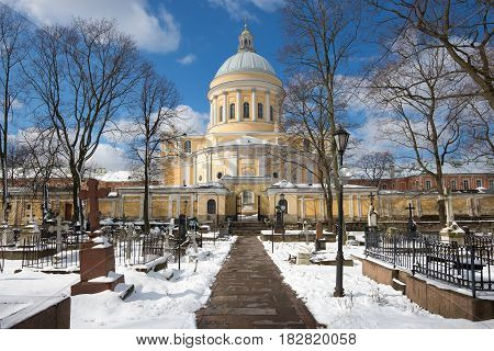 View of Trinity cathedral from the Nikolsky cemetery sunny April day. Aleksandro-Nevskaya Lavra. St. Petersburg. Russia