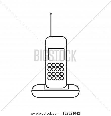 cordless phone communication device outline vector illustration eps 10
