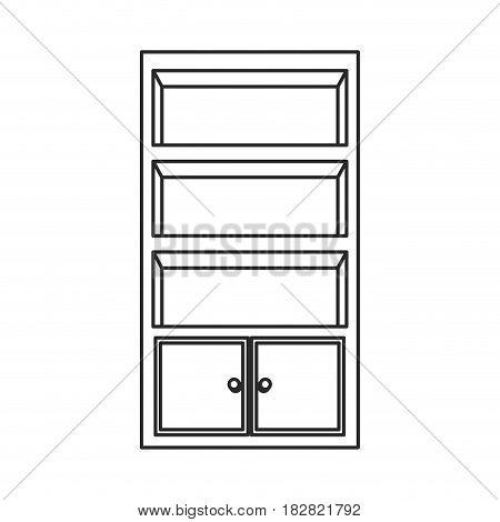 bookcase furniture wooden bookcase outline vector illustration eps 10