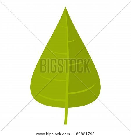 Green poplar leaf icon flat isolated on white background vector illustration