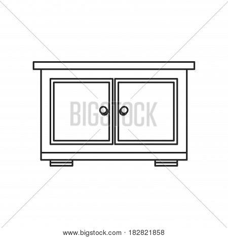 bedside table wood furniture outline vector illustration eps 10