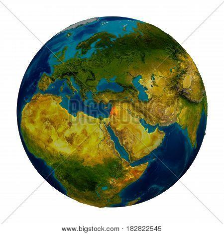 Lebanon Highlighted On Globe