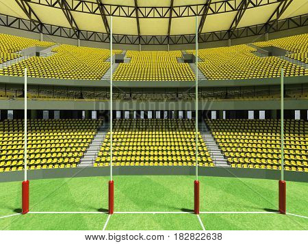 3D Render Of A Round Australian Rules Football Stadium With  Yellow Seats And Vip Boxes