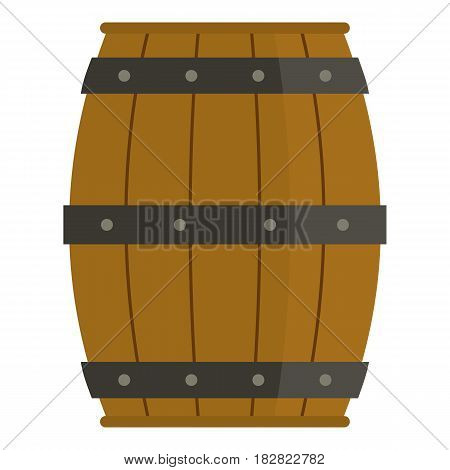 Wooden barrel icon flat isolated on white background vector illustration