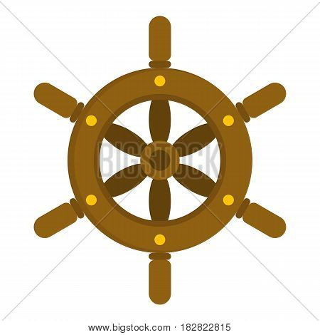 Ship wheel icon flat isolated on white background vector illustration