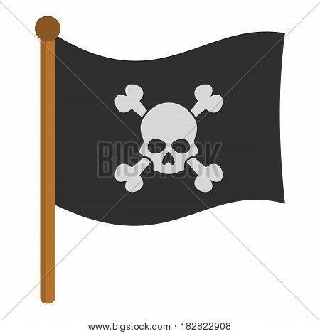 Pirate flag icon flat isolated on white background vector illustration