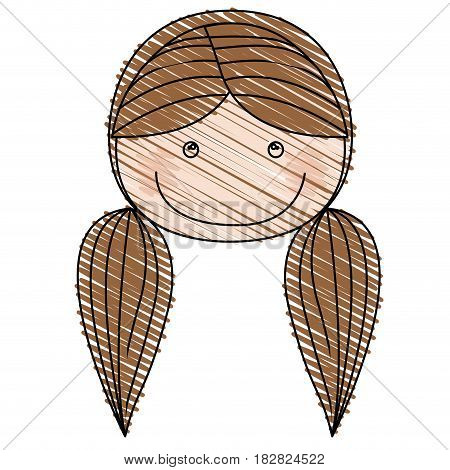 color pencil drawing of caricature front face girl with brown pigtails hair vector illustration