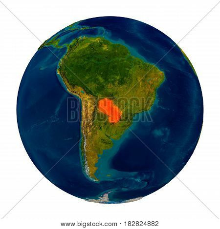 Paraguay Highlighted On Globe
