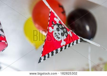 Indoor boys pirate birthday festive banner decoration.