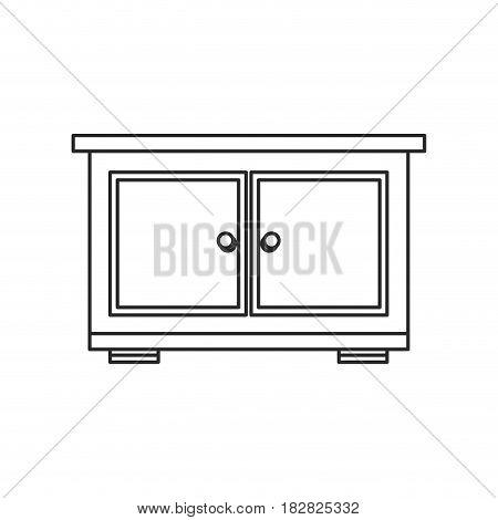 bedside table furniture room outline vector illustration eps 10