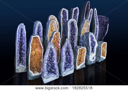 Amethyst cathedral geode specimen isolated on black background