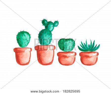 Set of cute hand drawn watercolor cactuses