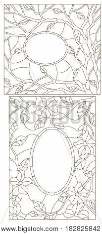 Set contour illustrations of stained glass in an abstract framework with flowers leaves and branches