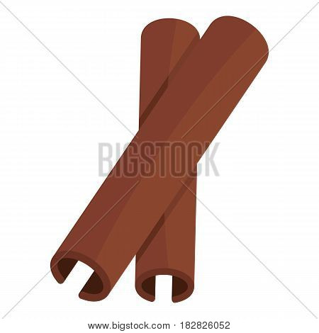 Two cinnamon stick spice icon flat isolated on white background vector illustration