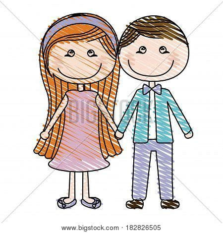 color pencil drawing of caricature couple in suit formal with taken hands vector illustration
