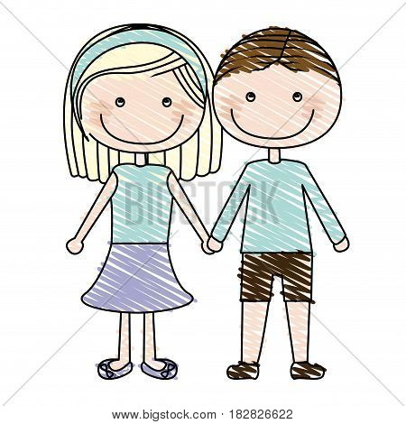 color pencil drawing of caricature couple in suit informal with taken hands vector illustration