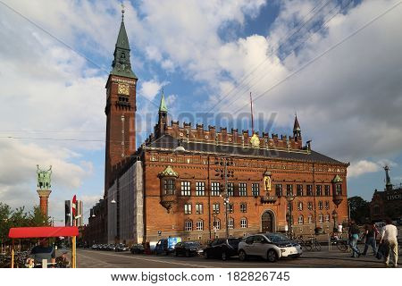 COPENHAGEN, DENMARK - JUNE 29, 2016: This is City Hall Square with the City Hal.