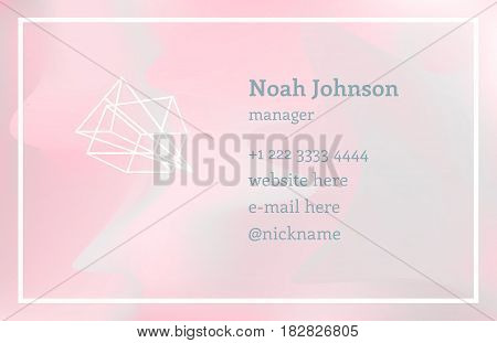 Pink double-sided business card with a crystal logo. Polygonal shape. Corporate identity template. Blurry holographic background. Chatoyant backdrop.Vector. EPS 10. Nacreous pearl pastel colors.