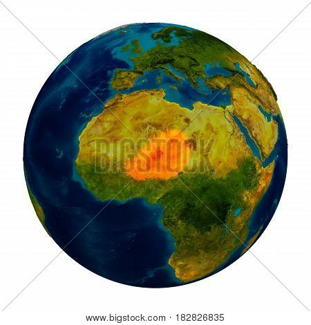 Niger Highlighted On Globe