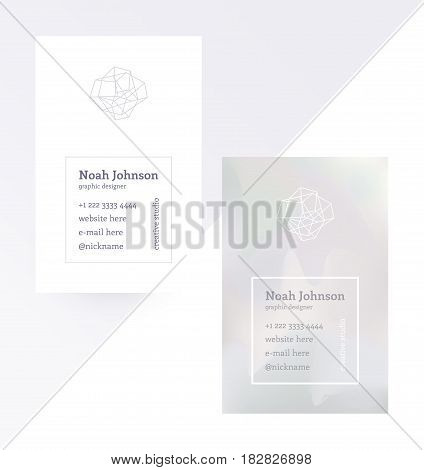Gray double-sided business card with a crystal logo. Polygonal shape. Corporate identity template. Blurry holographic background. Chatoyant backdrop.Vector. EPS 10. Nacreous pearl pastel colors.