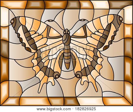 Illustration in stained glass style with butterflybrown tone sepia