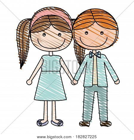 color pencil drawing of caricature blond guy hair and girl pigtails hairstyle with taken hands vector illustration