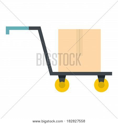 Hand truck with cardboard box icon flat isolated on white background vector illustration