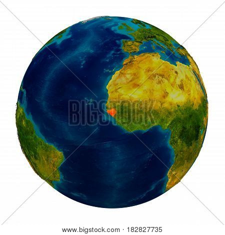 Guinea-bissau Highlighted On Globe