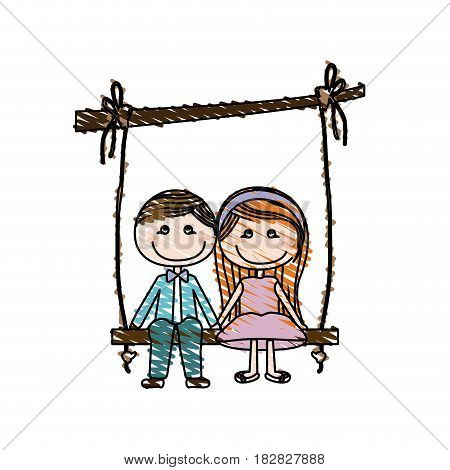 color pencil drawing of caricature couple sit in swing hanging from a branch vector illustration