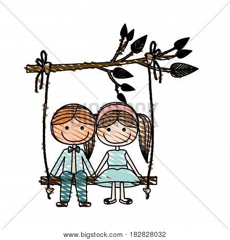 color pencil drawing of caricature blond guy and girl with pigtails hairstyle sit in swing hanging from a branch vector illustration
